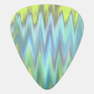 Modern Lime Turquoise Ikat Chevron Zigzag Guitar Pick