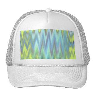 Modern Lime Turquoise Ikat Chevron Zigzag Mesh Hat