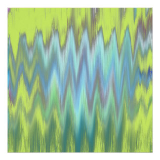 Modern Lime Turquoise Ikat Chevron Zigzag Poster