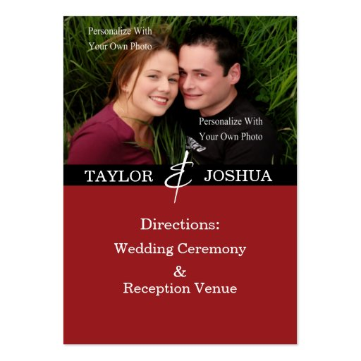 Modern Lines Deep Cherry Direction Cards Business Card