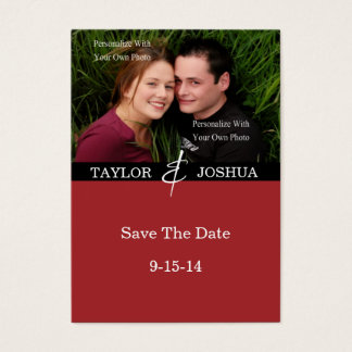 Modern Lines Deep Cherry Photo Save The Date #2