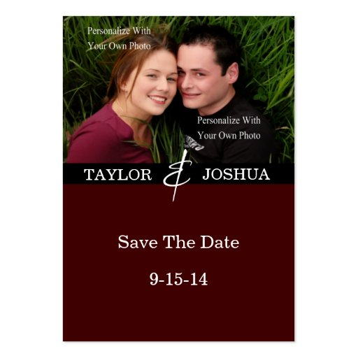 Modern Lines Deep Cocoa Photo Save The Date #2 Business Card Templates