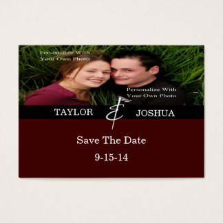 Modern Lines Deep Cocoa Photo Save The Date Card