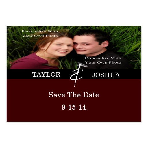 Modern Lines Deep Cocoa Photo Save The Date Card Business Cards