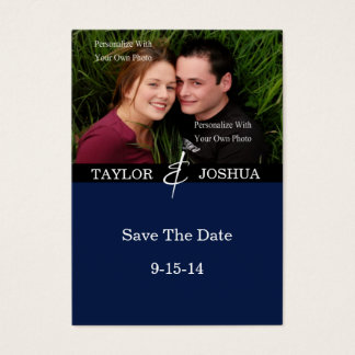Modern Lines Deep Navy Photo Save The Date #2