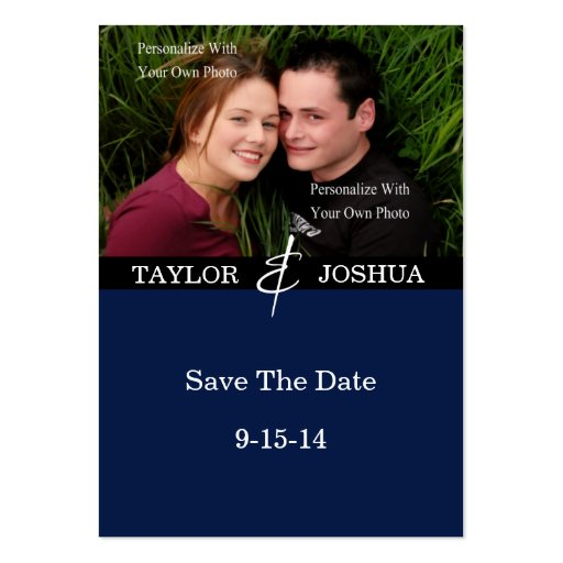 Modern Lines Deep Navy Photo Save The Date #2 Business Card Templates