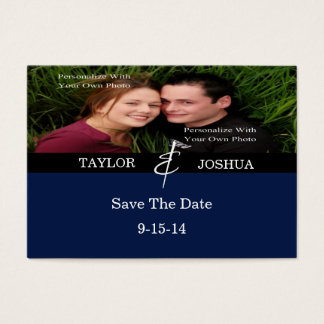 Modern Lines Deep Navy Photo Save The Date Card