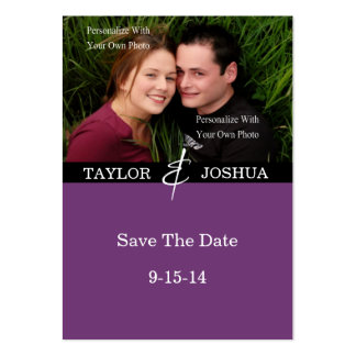 Modern Lines Deep Plum Photo Save The Date #2 Pack Of Chubby Business Cards