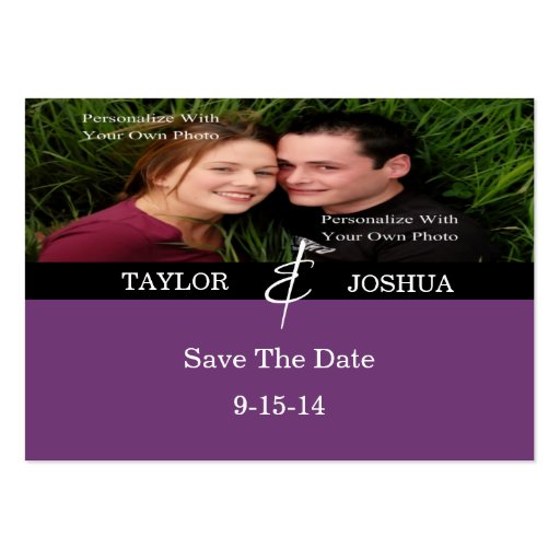 Modern Lines Deep Plum Photo Save The Date Card Business Card Templates