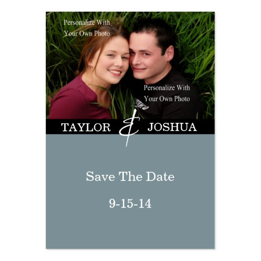 Modern Lines Slate Blue Photo Save The Date #2 Business Cards