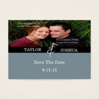 Modern Lines Slate Blue Photo Save The Date Card