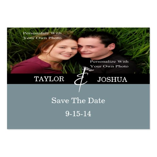 Modern Lines Slate Blue Photo Save The Date Card Business Card