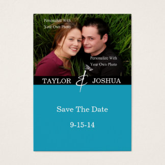 Modern Lines Vibrant Teal Photo Save The Date #2