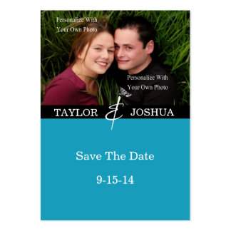Modern Lines Vibrant Teal Photo Save The Date 2 Business Card Templates