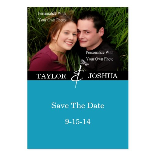 Modern Lines Vibrant Teal Photo Save The Date #2 Business Card Templates