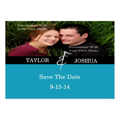 Modern Lines Vibrant Teal Photo Save The Date Card Business Card