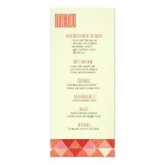 Modern Lines Wedding Menu coral 10 Cm X 24 Cm Invitation Card