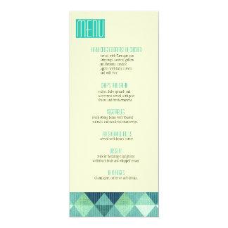 Modern Lines Wedding Menu teal 10 Cm X 24 Cm Invitation Card