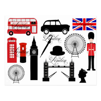 Modern London Great Britain icons vintage typo Postcard