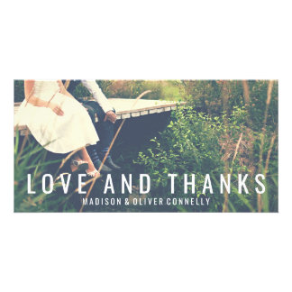 Modern Love And Thanks Bold Typography Wedding Personalized Photo Card