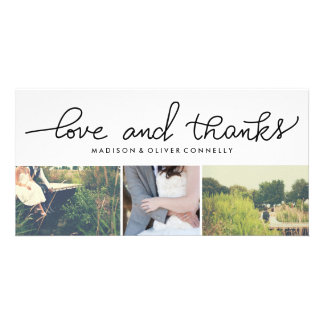 Modern Love And Thanks Handwritten Wedding Personalised Photo Card