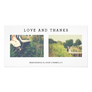 Modern Love And Thanks Wedding Photo Collage Customized Photo Card