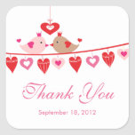 Modern Love Bird Hearts Bridal Shower Thank You Square Sticker