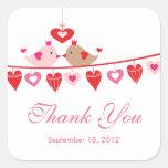 Modern Love Bird Hearts Bridal Shower Thank You Square Sticker