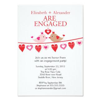 Modern Love Bird Hearts Engagement  Invitations