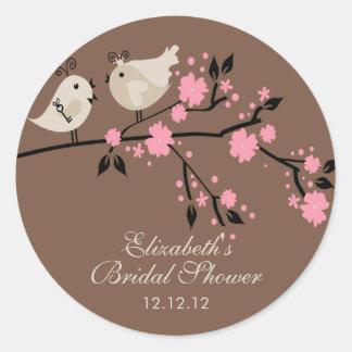 Modern Love Birds Bridal Shower Round Sticker