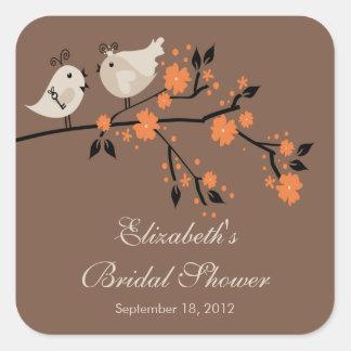 Modern Love Birds Bridal Shower Square Square Sticker