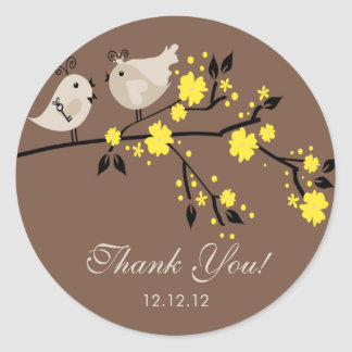 Modern Love Birds Bridal Shower Thank You Stickers
