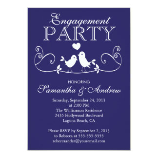 "Modern Love Birds Engagement Party Invitations 4.5"" X 6.25"" Invitation Card"
