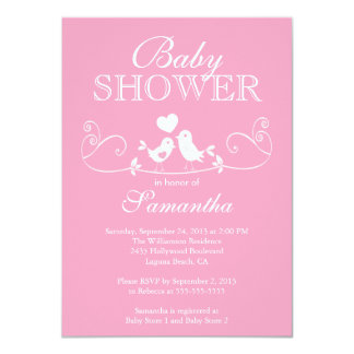 Modern Love Birds Girls Baby Shower Invitation