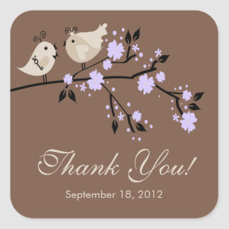 Modern  Love Birds Thank You Bridal Shower Square Square Sticker