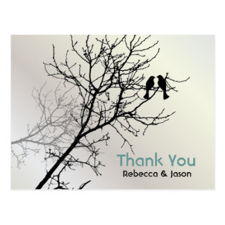 Modern Love Birds Tree white Wedding thank you Postcard
