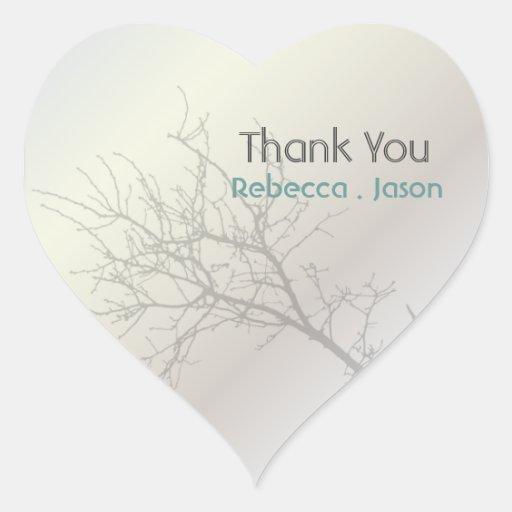 Modern Love Birds Tree white Wedding thankyou Heart Stickers