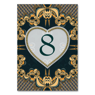 Modern Love Decor Lace Teal Gold Table Number Card Table Cards