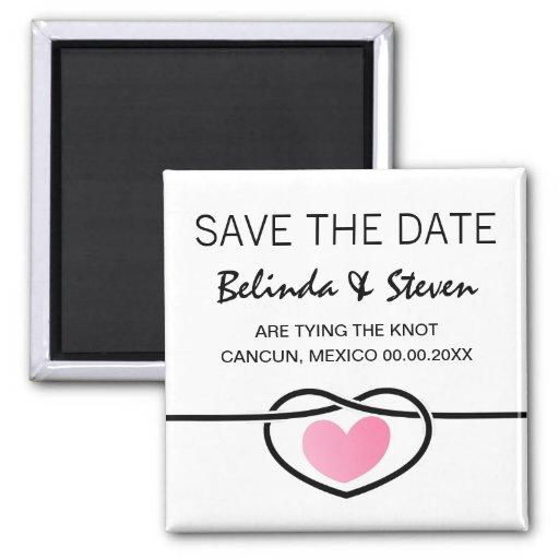 Modern love heart knot wedding Save a date magnet