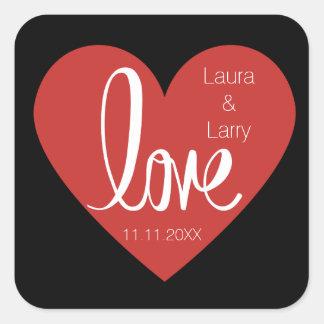 Modern LOVE Red Black Wedding Favor Envelope Seals Square Sticker