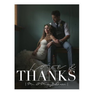 Modern Love & Thanks | Wedding Thank You Photo Postcard
