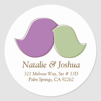Modern Lovebirds, Address Labels Round Sticker