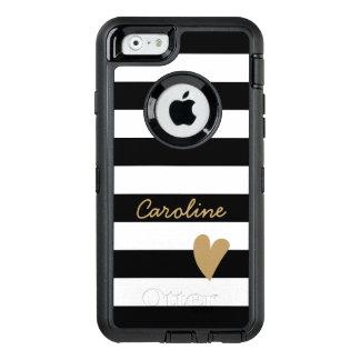 Modern Lovely Heart Decor Black White Striped OtterBox Defender iPhone Case
