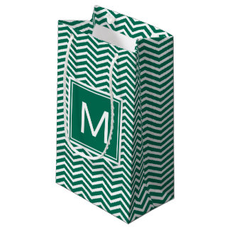 Modern Lush Green Chevrons With Monogram Small Gift Bag