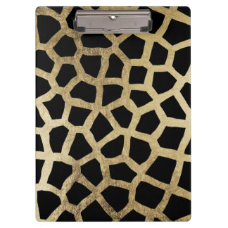 Modern luxury black and gold foil animal print clipboard