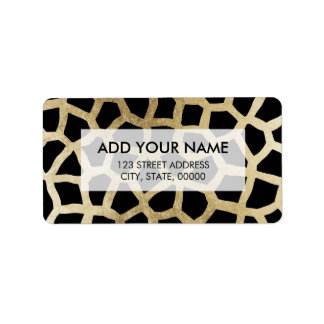 Modern luxury black and gold foil animal print label