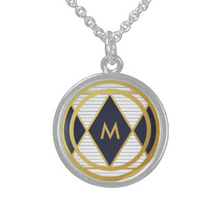 Modern Luxury Navy Blue Gold Stripe Monogram Round Sterling Silver Necklace