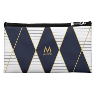 Modern Luxury Navy Blue Gold Stripes Monogram Cosmetic Bag