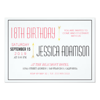 Modern Magenta & Black Typography | 18th Birthday Card