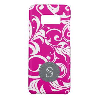 Modern Magenta Floral Wallpaper Swirl Monogram Case-Mate Samsung Galaxy S8 Case